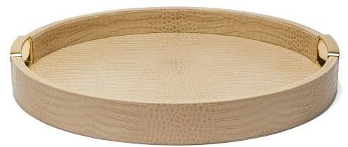 AERIN Carina Small Crocodile Effect Leather Tray - Gold