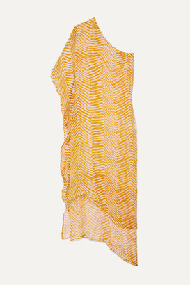 CLOE CASSANDRO Net Sustain Sydney One-shoulder Layered Zebra-print Silk-crepon Maxi Dress - Mustard