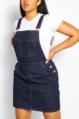 boohoo Plus Denim Overall Frayed Hem Dress