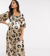 Queen Bee Maternity off shoulder bell sleeve shirred bust midi dress in squiggle heart print