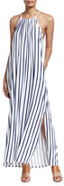 Seafolly Vertical Stripe Jersey Maxi-Dress, Indigo/White