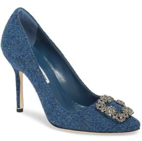 Manolo Blahnik Hangisi Jewel Buckle Pump