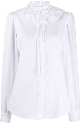 Moschino Ruffle Collar Floral Jacquard Shirt