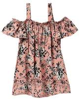 Jenna & Jessie Printed Crepe Cold Shoulder Top (Big Girls)