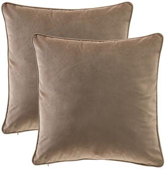 "14 Karat Home Inc. Solid Velvet 20"" Pillow Cover,Set of 2, Toffee"