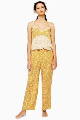 Topshop Womens Ochre Mixed Floral Wide Leg Pyjama Trousers - Ochre