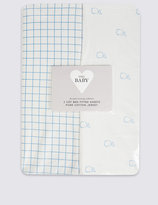 Marks and Spencer 2 Pack Pure Cotton Whale Jersey Fitted Cot Bed Sheets