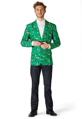 Men's Suitmeister Slim-Fit Christmas Tree Lights Light-Up Green Blazer