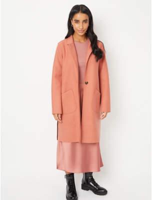 George Salmon Pink Unlined Longline Oversized Coat