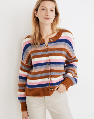 Madewell Striped Springview Cardigan Sweater in Coziest Yarn