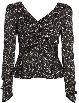 Jonathan Simkhai Floral Ruched Hammered Stretch-Silk Puff-Sleeve Twist-Front Top