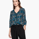 Suncoo Printed Blouse with Lace Detail