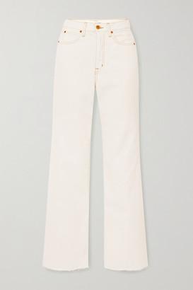 SLVRLAKE Grace Frayed High-rise Flared Jeans - White