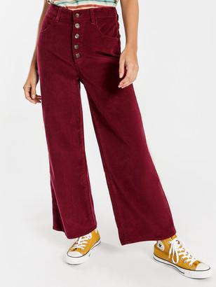 Wrangler Hi Bells Cropped Jeans in Red Plum