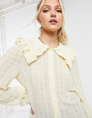 Monki Naima blouse with collar in yellow