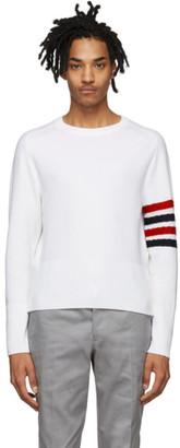 Thom Browne White Wool 4-Bar Crewneck Sweater