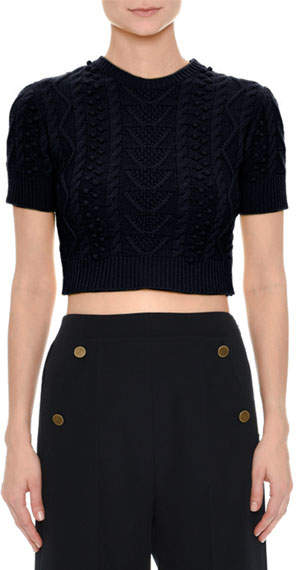 Valentino Short-Sleeve Cable-Knit Crop Top, Navy