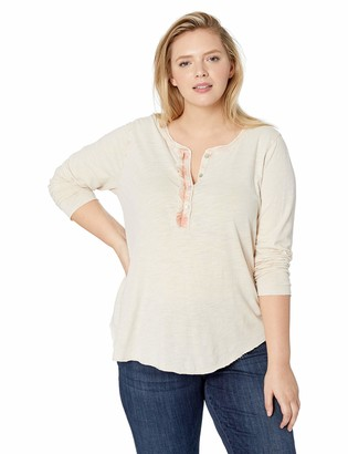 Lucky Brand Women's Plus Size Ruffle Henley in Washed Pink 1X