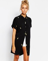 Lazy Oaf Oversized Longline Short Sleeved Shirt In Pineapple Print