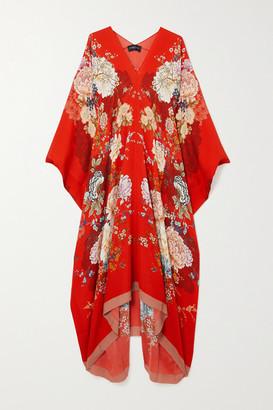 MENG Floral-print Silk-georgette Kaftan - Red