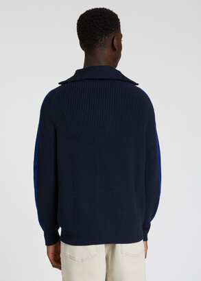 Paul Smith Men's Dark Navy Ribbed Funnel Neck Sweater