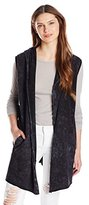 Three Dots Women's Mineral Wash Hooded Terry Vest