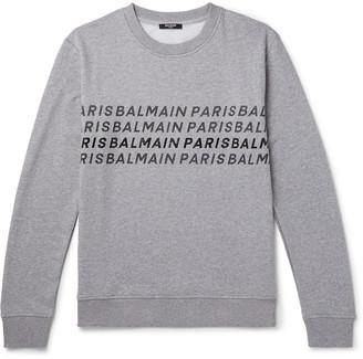 Balmain Logo-Print Melange Loopback Cotton-Jersey Sweatshirt