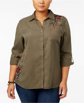 Style&Co. Style & Co Plus Size Cotton Embroidered Shirt, Created for Macy's