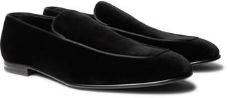 Ermenegildo Zegna Silk Satin-trimmed Suede Loafers - Black