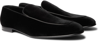 Ermenegildo Zegna Silk Satin-Trimmed Suede Loafers - Men