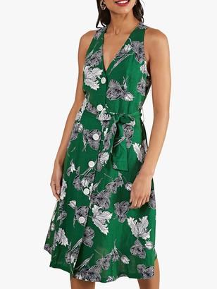 Yumi Sketchy Print Skater Dress, Green