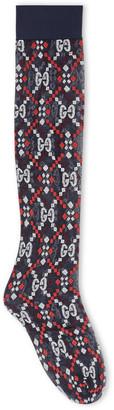 Gucci GG diamond jacquard beige socks