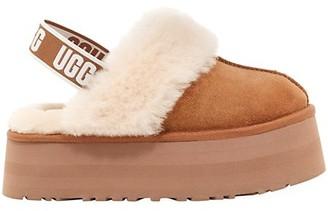 UGG Funkette Sheepskin-Lined Suede Platform Slingback Slippers