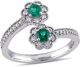 Laura Ashley 3/7 CT TW Lab-Created Emerald and Diamond 10K White Gold Bypass Ring