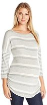 Three Seasons Maternity Women's Maternity 3/4 Sleeve Contrast Stripe Side Ruche Top