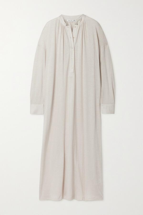Thumbnail for your product : FRANCES DE LOURDES Aarons Cotton And Cashmere-blend Maxi Dress - Neutrals