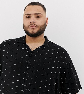 Duke King Size revere collar shirt with geo print in black