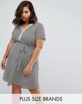 Koko Plus Dress With Zip Front In Zig Zag Print