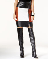 INC International Concepts Petite Colorblocked Faux-Leather Pencil Skirt, Only at Macy's