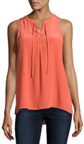 Joie Deasia Lace-Up Tank Top, Orange