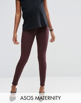 Asos Lisbon Mid Rise Jean in Blackened Oxblood With Under The Bump Waistband