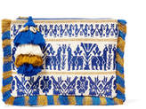 Figue Maia Tasseled Embroidered Cotton-canvas Clutch - Blue