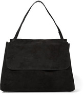 The Row Top Handle 14 Suede Shoulder Bag - Black