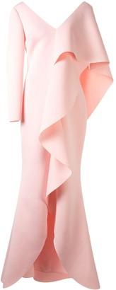 Badgley Mischka Asymmetric Ruffle Scuba Gown
