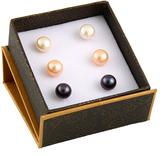 Bella Pearl Tri-Tone Pearl Stud Earring Set