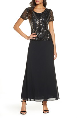 Pisarro Nights Mock Two-Piece Embellished Bodice Gown