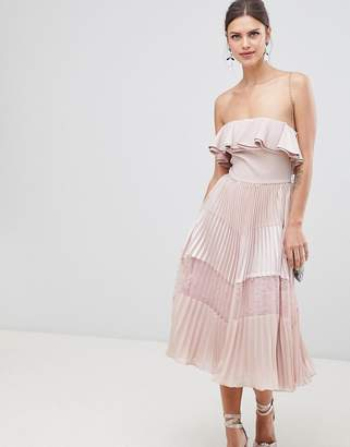 True Decadence Sleeveless Dress With Ruffle Trim And Lace Insert Pleated Skirt-Pink