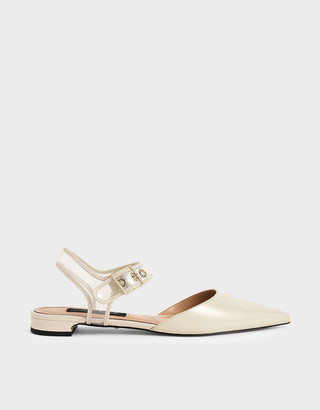 Charles & Keith Patent Leather Clear-Strap Flat Pumps