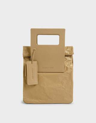 Charles & Keith Crumpled-Effect Tote Bag