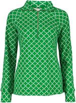 Pappagallo Women's Polo Shirts KELLY - Green & White Quatrefoil Half-Zip Pullover - Women